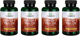 Swanson Omega-3 Fish Oil with Vitamin D - Lemon Flavored 1,000 mg 60 Sgels 4 Pack