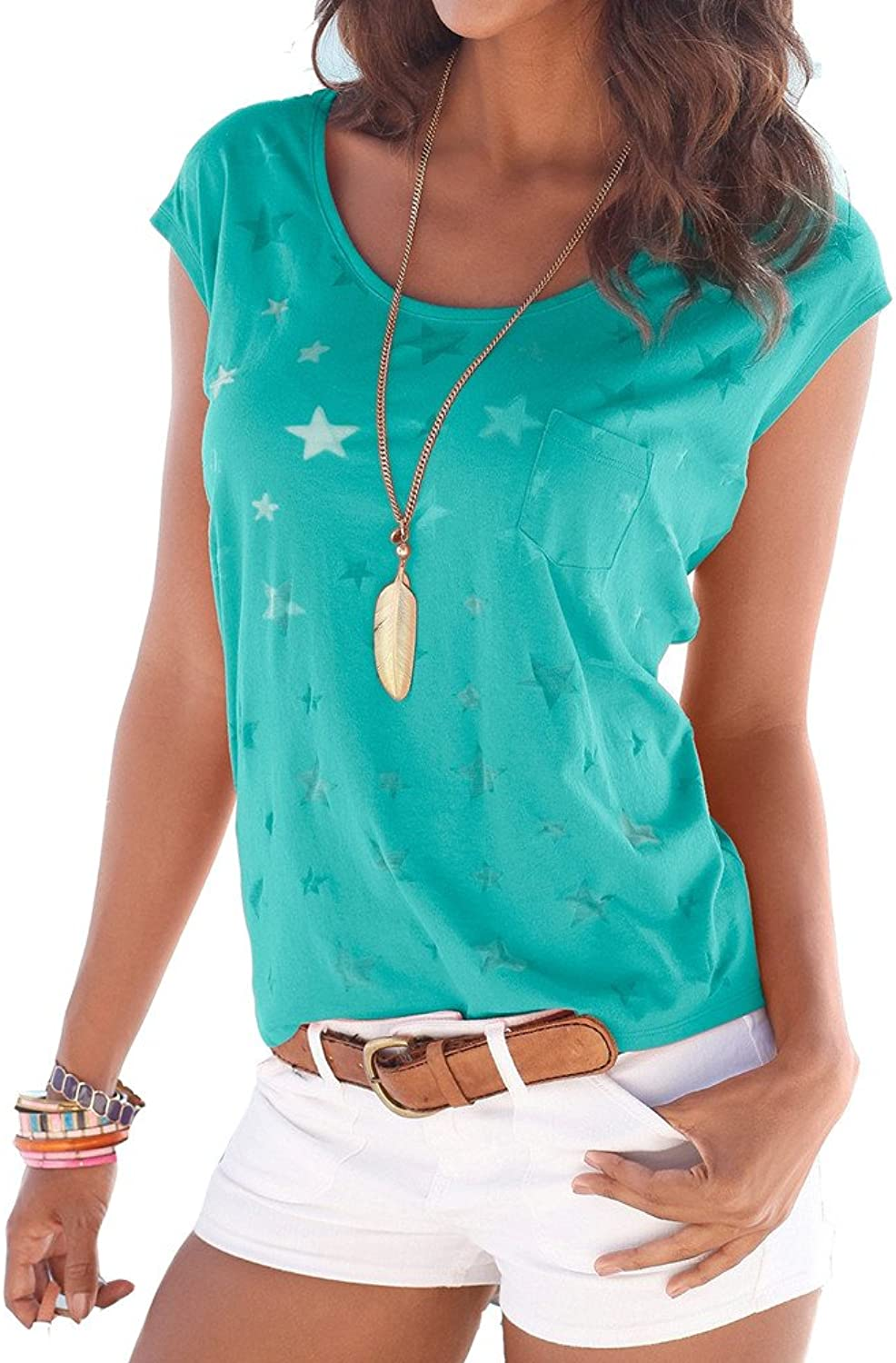 Coutgo Woman's Sexy Star Print Round Neck Shirt Short Sleeve Long Sleeve Blouse Tops