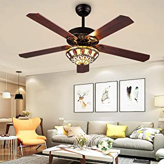 RainierLight Modern Ceiling Fans Led Light with 5 Wood Reversible Blades for Living Room Bedroom Dinning Room Remote Control 3 Speed(Low,Medium,High) Quiet Fan Home Decoration (52-Inch)