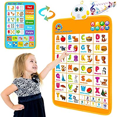 Electronic Interactive Alphabet Wall Chart, Talking ABC & 123s & Music Poster, Educational Toy for Toddlers Kids Learning Toys for 1 2 3 4 5 Year Old Girls Boys Birthday Gifts at Daycare,Preschool from Hony