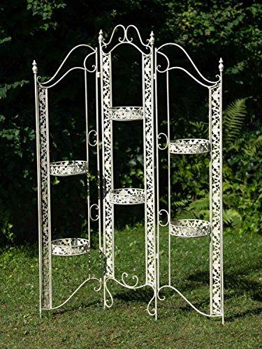 aubaho Paravent Pergola Rankhilfe Blumenampel Blumentopf 16kg Eisen antik Stil Weiss