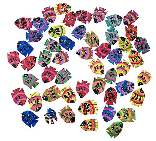 50 peces de madera coloridos pintados por ambos lados, peces de madera,...