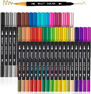 Dual Markers Brush Pen, Colored Pen Fine Point Art Marker & Brush Highlighter Pen for..
