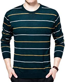 Macondoo Men's Casual Striped Knitted Long Sleeve Pullover Jumper Sweaters