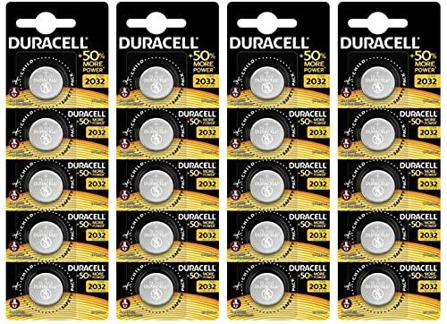 Pilas de botón de Litio Duracell 2032 de 3 V, Caja de 4 Blister de 5 Pilas, con Tecnología Baby Secure, (DL2032/CR2032)