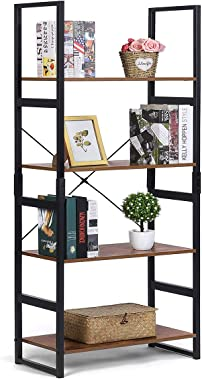KINGSO Industrial Bookshelf, 4-Tier Bookcase Vintage Rustic Large Storage Rack Shelves, Ladder Shelf with Wood Look & Metal Frame Accent Furniture for Home Living Room Study Lounge