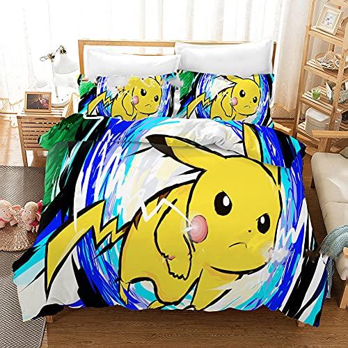 Funda nordica 90 Personajes de Anime Pikachu I Ropa de Cama Microfibra fácil Cuidado Juego de Funda...