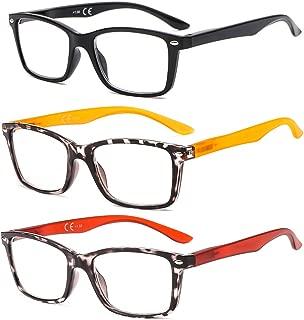 SUERTREE 3 Pack Anti Glare Reading Glasses Spring Hinge Computer Glasses Comfort Women Men Anti Ray Eyewear BM151 (2.5X)