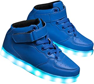 Hopscotch Boys Leather Velcro High Top USB Rechargeable Sneakers - Blue