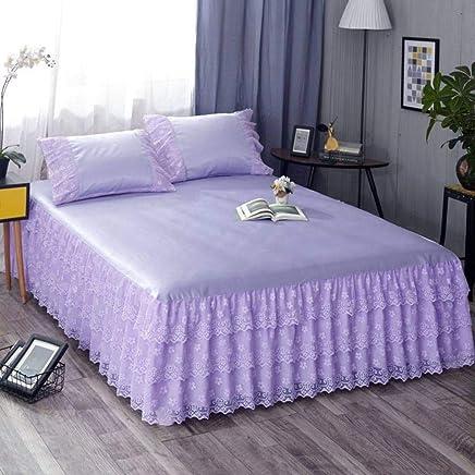 QXJR ベッドスカート,ストレッチ ベッドスカート,いベッドスカート シングル,敷き布団 ラップアラウンドスタイル 単色 寝具 装着が簡単 ベッド用品-紫色-1.8*2.2メートル
