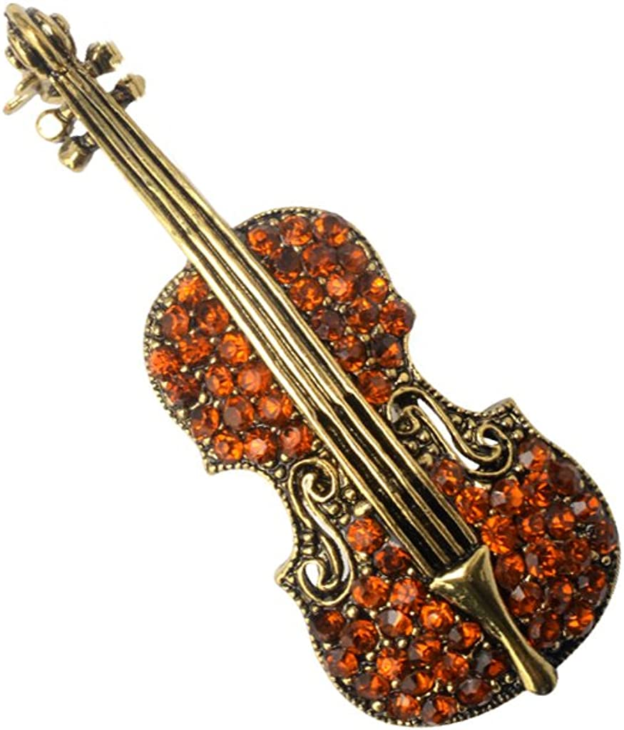 Generic Charming Brown Vintage Violin Crystal Autumn Clothing Accessories Brooch Pin