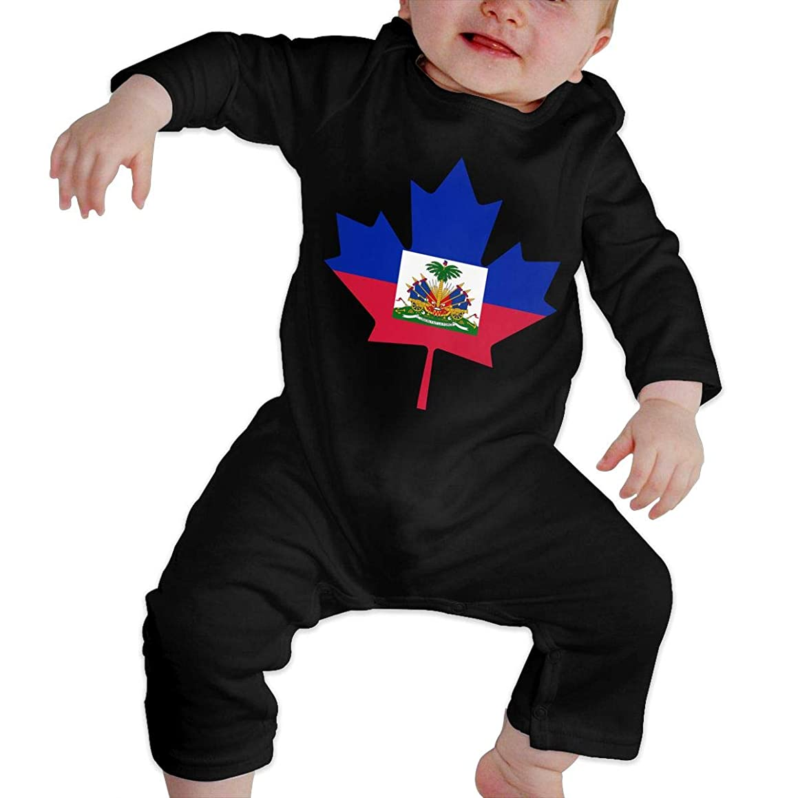 Haitian Flag Canada Maple Leaf Newborn Infant Baby Girls Long Sleeve Coveralls Jumpsuits