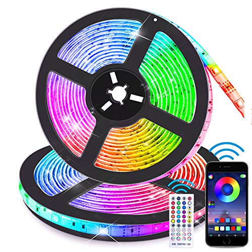 Bluetooth LED Strip Lights Music Sync App Control, 32.8FT/10M Flexible Waterproof RGB LED Light Strips for Bedroom with Remote Color Changing Neon Lights 300LED 5050 Tape Lights 12V Room Mood Lighting