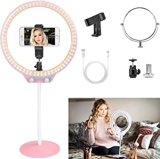 ZOMEI 10 Inch LED Tabletop Ring Light for Makeup with Mirror, Phone Holder, Hot Shoe (Pink)