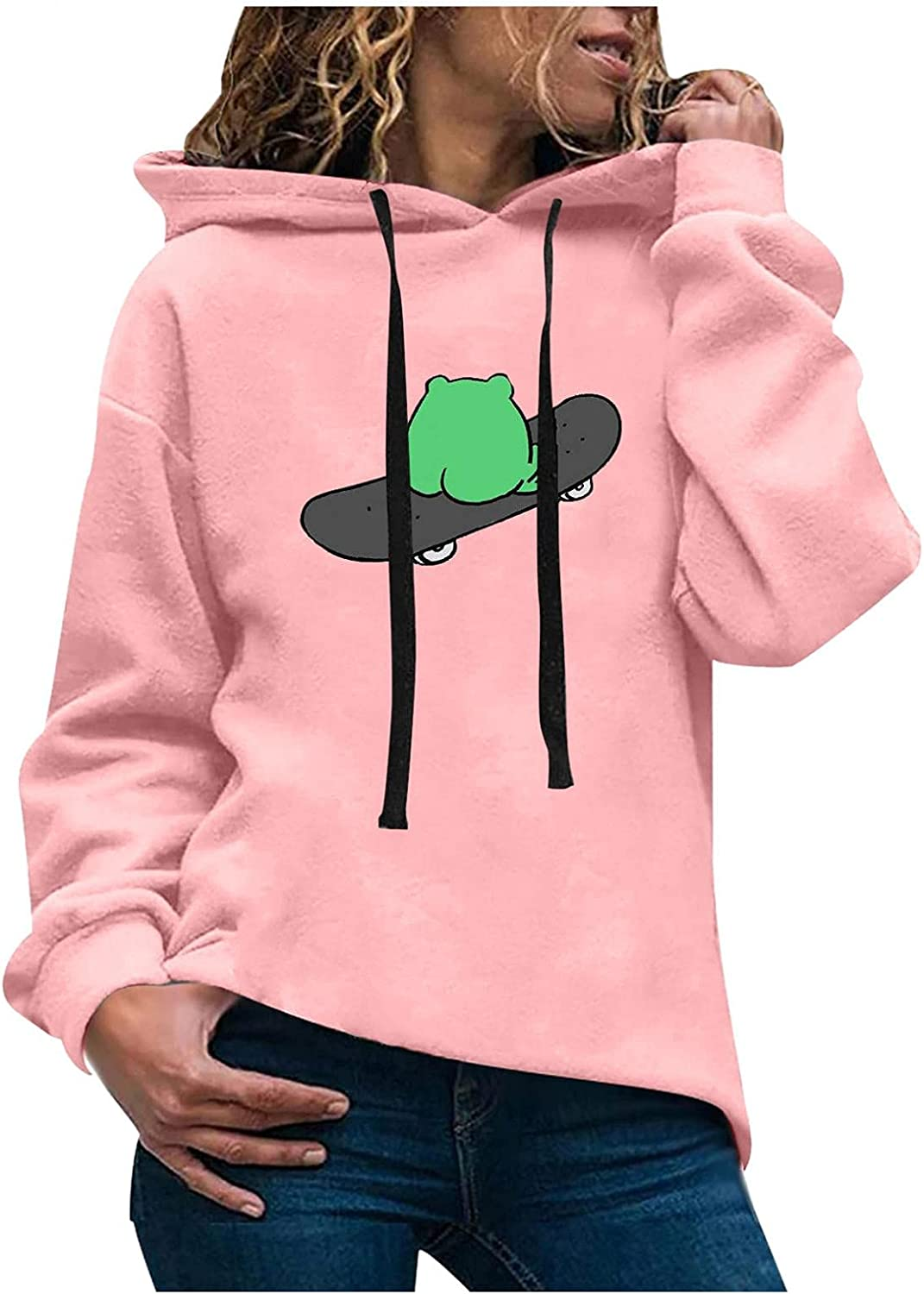 Outlet ☆ Free Shipping Qisemi Wholesale Hooded Sweatshirts for Women Teen Graphic Girls Swea Frog