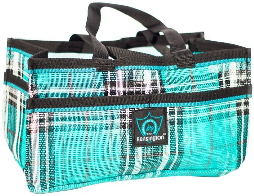 Kensington Horse Grooming Tote Bag — Handy Upright Stow Away in Vibrant Plaid Designs — Very Durable with Lots of Storage Compartments — 12'L x 7'W x 7'D