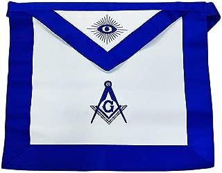 Masonic Apron Synthetic Leather Blue Lodge Master Mason Blue Grosgrain Ribbon Borders