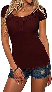 YOINS Camiseta para Mujer Verano Sexy Blusa Manga Corta Cuello Redondo Top