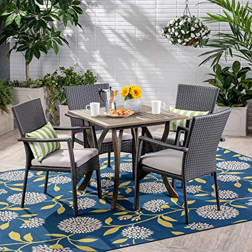 Contemporary Home Living 5-Piece Gray Square Wood and Wicker Outdoor Furniture Patio Dining Set - Silver Cushions
