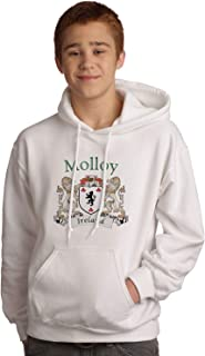 Molloy Irish Coat of Arms Hooded Sweatshirt in White