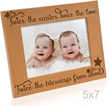 Kate Posh - Twice the Smiles, Twice the Love, Twice the Blessings from above - Engraved Natural Wood Photo Frame - Twins picture frame, Twins gifts for babies, Twins gifts for mom (5x7-Horizontal)