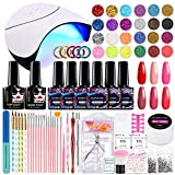Morovan Gel Nail Polish Kit with UV Light for Acrylic Nail Kit, 6 Colors Gel Nail Polish Set with Shinny Glitter and Sequins, 36W LED Nail Lamp,Base Top Coat French Manicure Nail Tools Gift Box Set