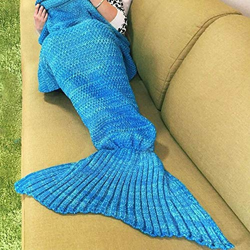 """URSKYTOUS Crochet Knitted Sofa Living Room Mermaid Tail Blanket, Cozy and Soft All Season Mermaid Tail Pattern Throw Sleeping Bag for Adult, Teens and Child, 71""""x35.5"""" (Blue-New)"""