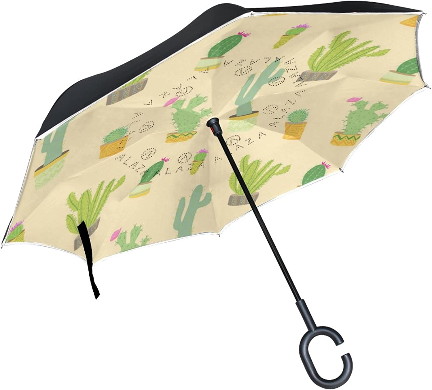 1cf460995d12 Cactus Pattern Ingreened Double Windproof Straight Umbrellas ...