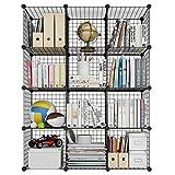 LANGRIA Bücherregal 12 Kubus Offen Draht Stufenregal Regalsystem Schuhregal Wohnzimmer Schrank für Bücher, Kleidung, Spielzeug und Schuhe [Zurück zur Schule] -