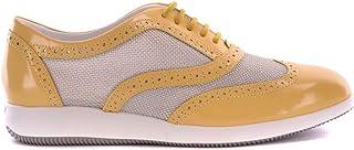 HOGAN Women's MCBI20547 Yellow Leather Lace-Up Shoes