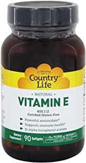 Country Life Natural Vitamin E - Supports Immune Health - 400 IU, 90 Softgels