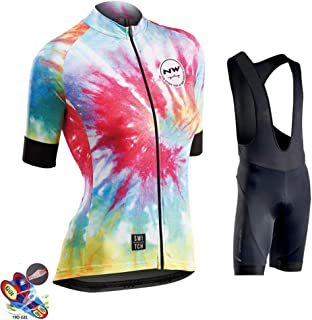Women's Cycling Jersey And Shorts Set Short Sleeved Bike Jersey Breathable Clothing 19D Gel Pad Shorts Quick-Dry,A,5XL