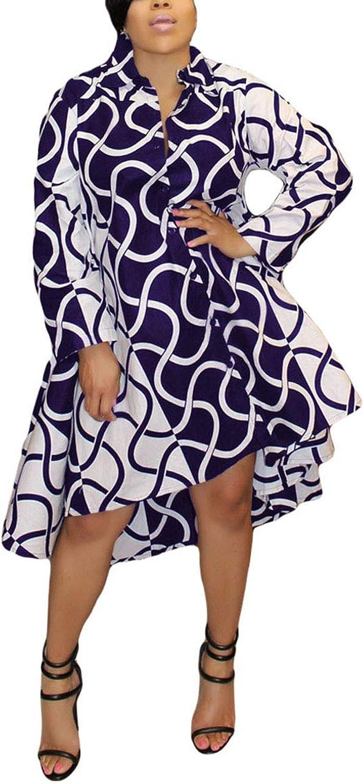 blueewolfsea Womens Casual Long Sleeve Button Down Collar Loose Striped Boyfriend Shirt Dress Midi Irregular Hem