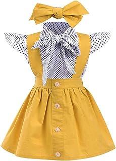 f27c47ea8e3bd EDOTON T-Shirt Sangle Robe de Petite Fille Printemps Automne Robe à Manches  Longues Robe