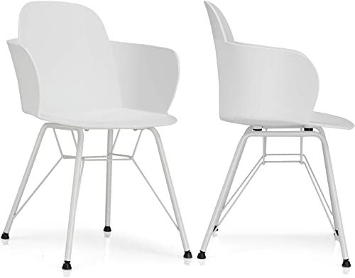 popular Giantex Set of 2 Dining Chairs, Pre Assembled Modern Style Plastic Dining Chair w/Metal Legs, Ergonomic Backrest, Armrest, Classic Petal outlet online sale discount Shape Cozy Leisure Chair for Kitchen, Dining Room, White online sale
