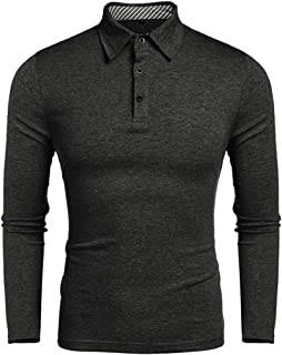 Men's T-Shirt Men's Long Sleeve Polo Shirt T-Shirt Tops Basic Casual Shirt Pure Color Button Shirt Comfortable Breathable ...