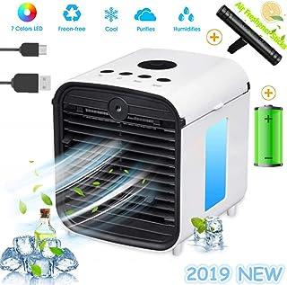 Nifogo Air Mini Cooler Aire Acondicionado Portátil - 3 en 1 Climatizador Evaporativo Frio Ventilador Humidificador Purificador de Aire, Leakproof, Nuevo Filtros (y-Rechargable + Sticks)