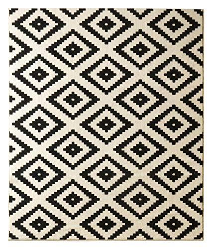 Hanse Home Velours Teppich Raute Schwarz Creme, 120x170 cm