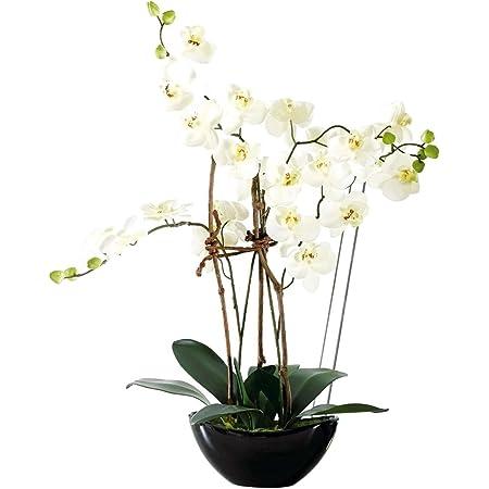 Art Fleur Artificielle Orchidée rose-crème dans blanc keramikvase 25 cm Décoration de Table