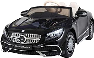 Sandinrayli 12V Kids Ride On Car Maybach S650 Licensed MP3 Battery Powered Electric Vehicle w/ Remote Control, Black