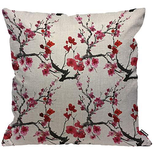 Funda de cojín HGOD Designs, diseño de ramas de cerezo y flor roja, funda de almohada decorativa para el hogar para hombres y mujeres, sala de estar, dormitorio, sofá, silla de 45 x 45 cm