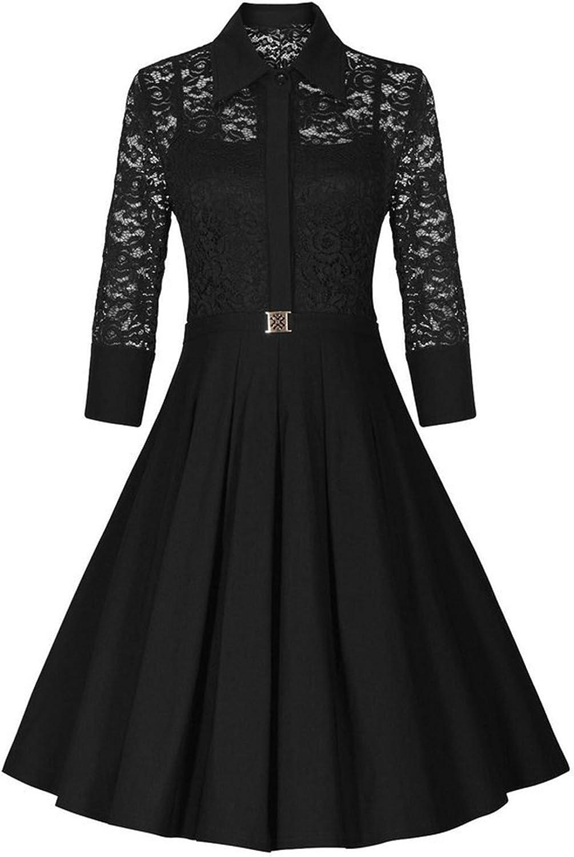 IGENJUN Women's Vintage 1950s Style 3 4 Sleeve Black Lace Flare Aline Dress