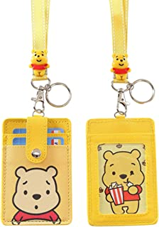 HASFINE ID Badge Holder Cute Credit Card Case Neck Pouch Lanyard with Cartoon Shield Keychain for Students Teens Boys Girls Women