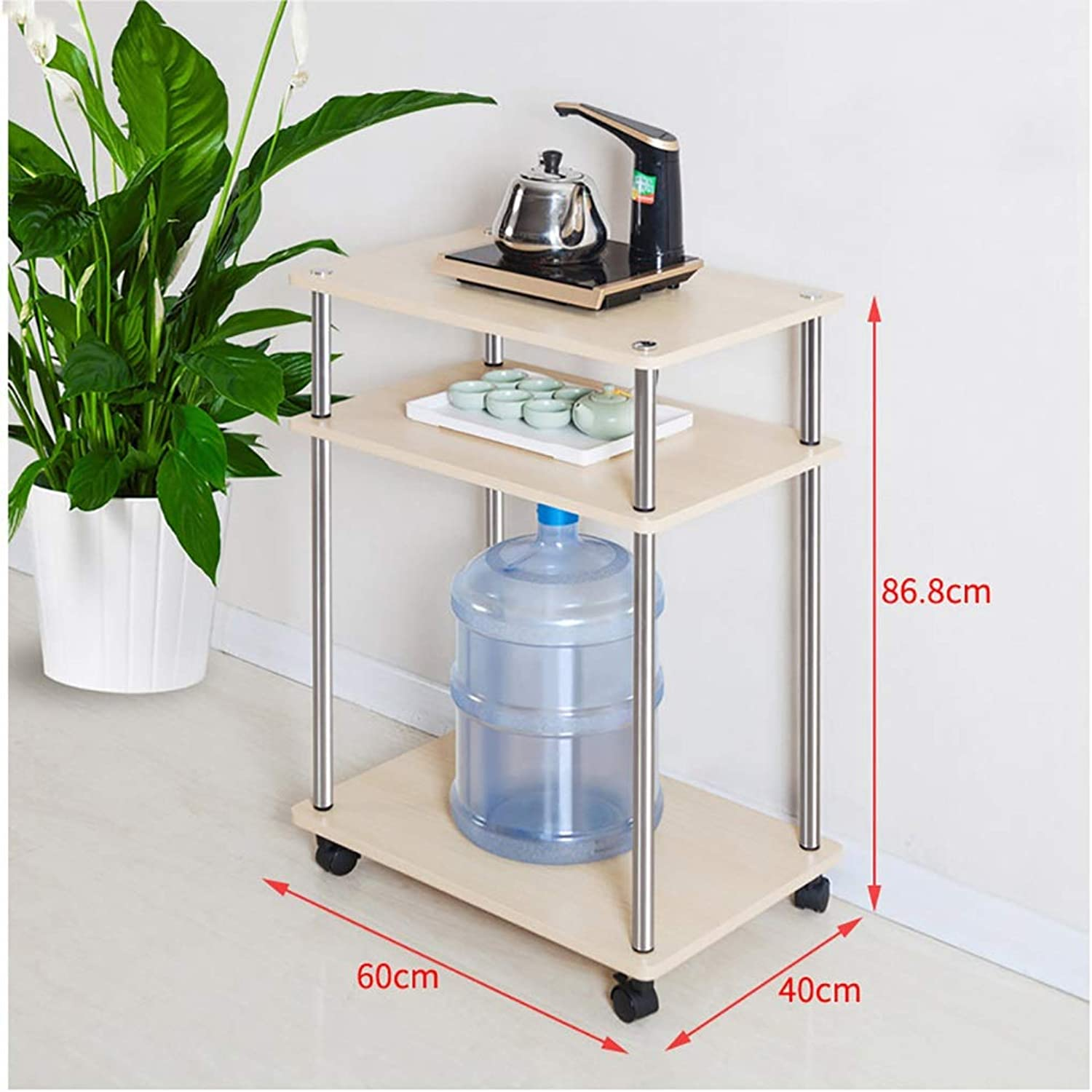 Coffee Table Side Table, Solid Wood Legs with 2 Drawers Sofa Side Cabinet Multifunction Long Locker Simple Corner Table 3 Size (Size   80  30  60cm)