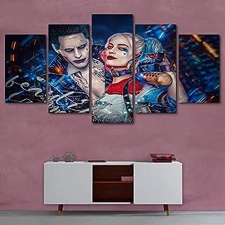 UYEDSR Pintura 5 Impresiones HD decoración de Joker de escuadrón Suicida HD Cuadros para Fondo del Dormitorio