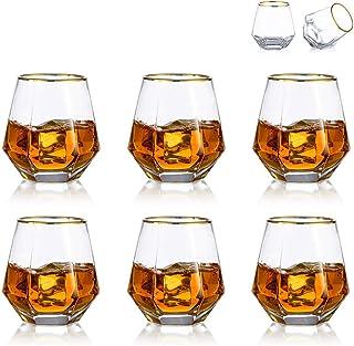 Ensemble De 6 Verres à Whisky Diamantés en Verre Scotch Incliné 300 ML en Verre à Whisky Look Moderne pour Hommes Femmes, ...