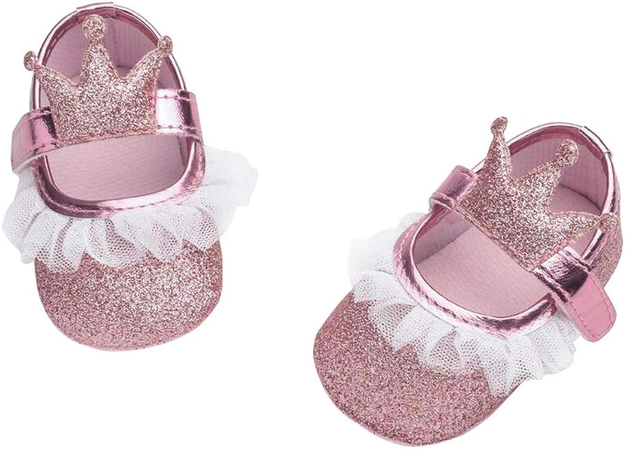 DEBAIJIA Bebé Niña Zapato de Princesa con Cinta Mágica para 6-18 Meses Niños Primeros Pasos Zapatos de Cuero con Lazo Casual Moda Antideslizante Flor Suave Suela Corona Patrón de Punto Corazón