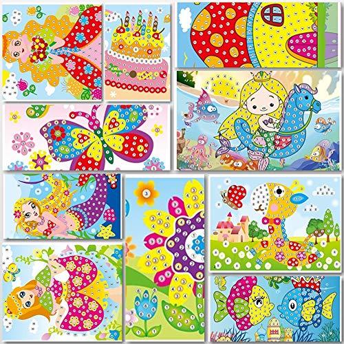 Lizipai Klebrige Mosaiken Craft Kit für Kinder, 10 Separate Bild Mosaik Aufkleber handgefertigte Kunst Kinder DIY Malerei
