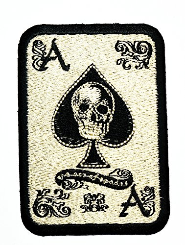HHO Spade Diamond Card Ace Card Logo Lucky Poker Iron Patch Embroidered DIY Patches, Cute Applique Sew Iron on Kids Craft Patch for Bags Jackets Jeans Clothes