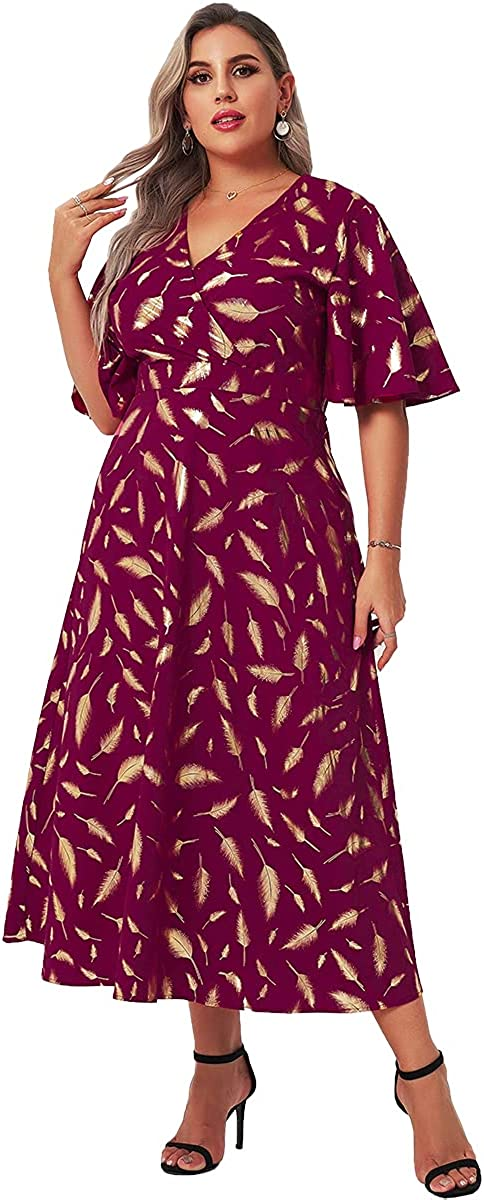 mztoo Plus Size Maxi Long Dress for Women Summer Vintage A Line V Neck Wrap Red Dress Cocktail Party Wedding Guest Casual